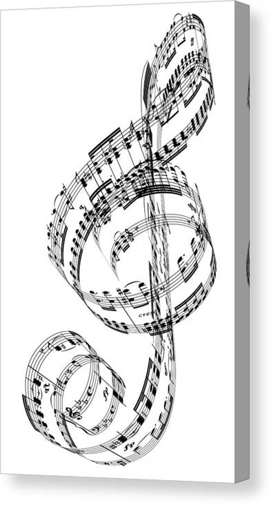Sheet Music Canvas Print featuring the digital art A Treble Clef Made From Beethovens by Ian Mckinnell