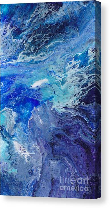 Water Aqua Blue Turquoise Teal Abstract Ocean Sea Flow Tropical Miami Florida Fl Relaxing Bright Vibrant Colorful Painting Beach Canvas Print featuring the painting Flow 006 by Nicole Chambers