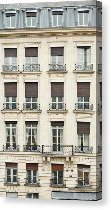 Apartment Canvas Print featuring the photograph Front View Of Paris Architecture by S. Greg Panosian