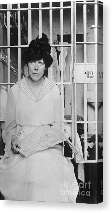Mid Adult Women Canvas Print featuring the photograph Suffragist Lucy Burns In Jail by Bettmann