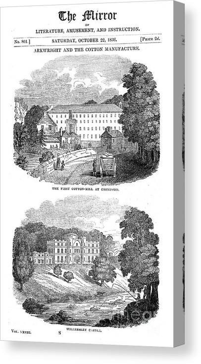 Event Canvas Print featuring the drawing The First Cotton Mill At Cromford by Print Collector