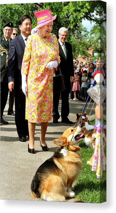 Pets Canvas Print featuring the photograph Queen Elizabeth II Visits Canada - Day 6 by WPA Pool