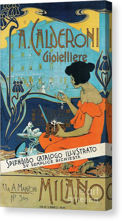 Diamond Canvas Print featuring the painting A Calderoni Gioielliere, Milan, 1898 by Adolfo Hohenstein