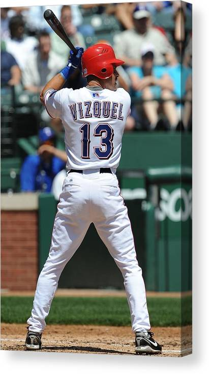 American League Baseball Canvas Print featuring the photograph Cleveland Indians v Texas Rangers by Ronald Martinez