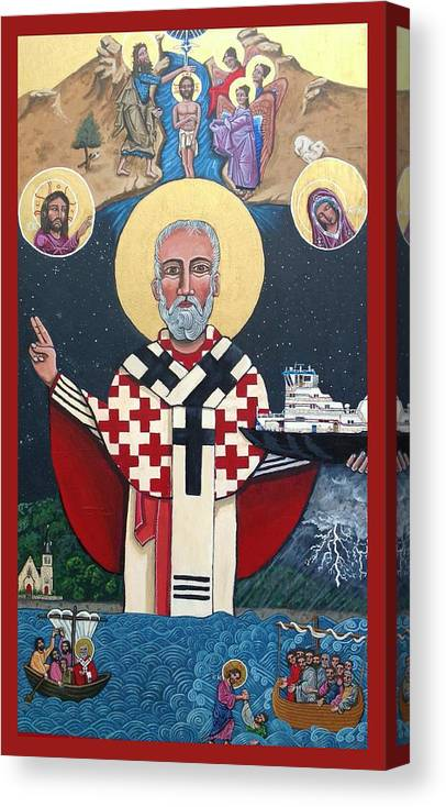 Canvas Print featuring the painting St. Nicholas Patron of Mariners by Kelly Latimore