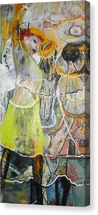 Lady Dancing Canvas Print featuring the painting Geneva's Disco by Peggy Blood