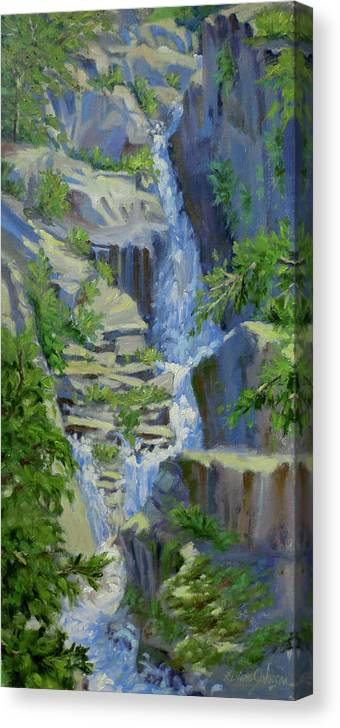 Waterfall Canvas Print featuring the painting Spring Melt by L Diane Johnson