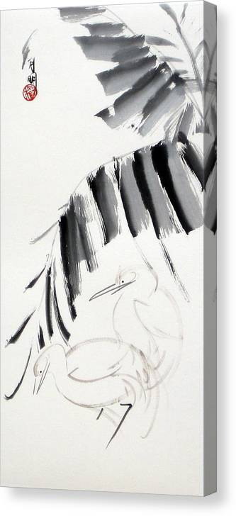 Chinese Painting Canvas Print featuring the painting Searching for food by Ming Yeung