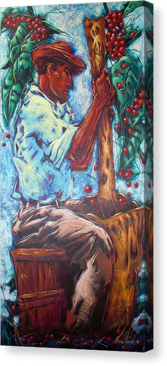Acrylic Painting Canvas Print featuring the painting Coffee grinder by Arturo Vilmenay