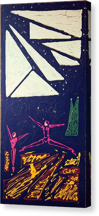 Dancers Canvas Print featuring the mixed media Dancing Under The Starry Skies by J R Seymour
