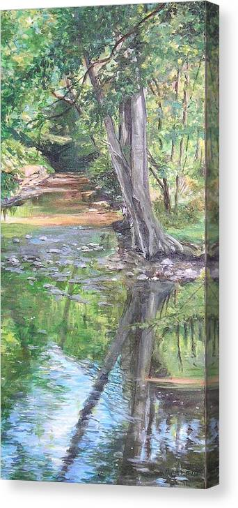 Creek Canvas Print featuring the painting French Creek by Denise Ivey Telep