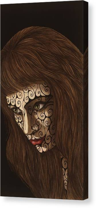 Watercolor Canvas Print featuring the painting Jezebel II by Tina Blondell