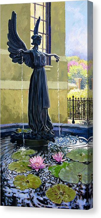 Garden Fountain Canvas Print featuring the painting Living Waters by John Lautermilch