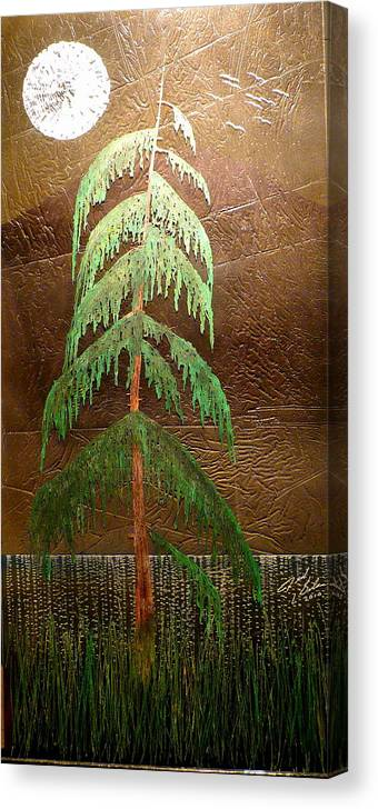 Moonlight Canvas Print featuring the painting Moonlit Cedar by Rick Silas