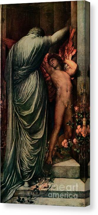 Panoramic Canvas Print featuring the drawing Love And Death, C1877, 1917 by Print Collector