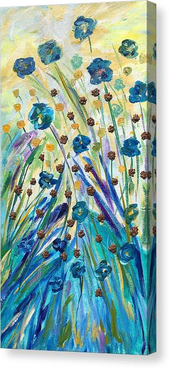 Agricultural Canvas Print featuring the mixed media Flax Maturing by Naomi Gerrard