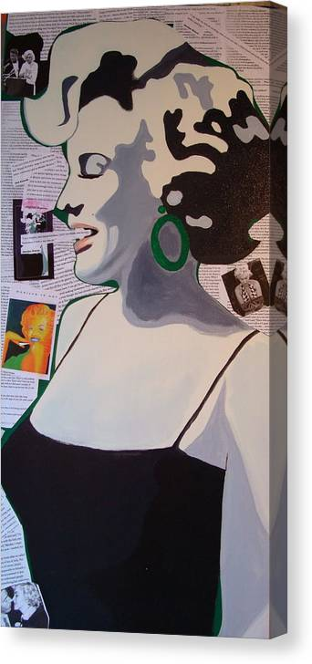 Marilyn Monroe Canvas Print featuring the drawing Marilyn by Holly Picano