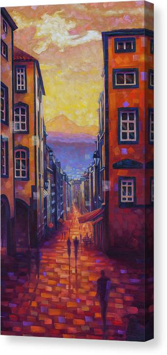 Clermont-ferrand Canvas Print featuring the painting Rue des Gras by Rob Buntin