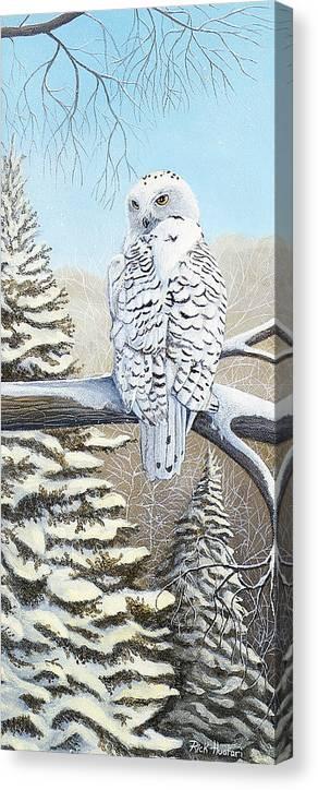 Rick Huotari Canvas Print featuring the painting Snowy Owl by Rick Huotari