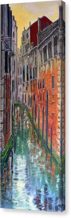 Venice Canal Canvas Print featuring the painting Back Alley by Dan Bozich