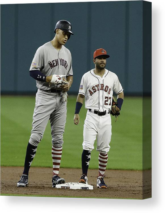 People Canvas Print featuring the photograph New York Yankees v Houston Astros by Bob Levey