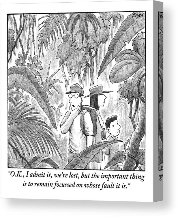 Lost Canvas Print featuring the drawing A Family Is Lost In The Depths Of A Jungle by Harry Bliss