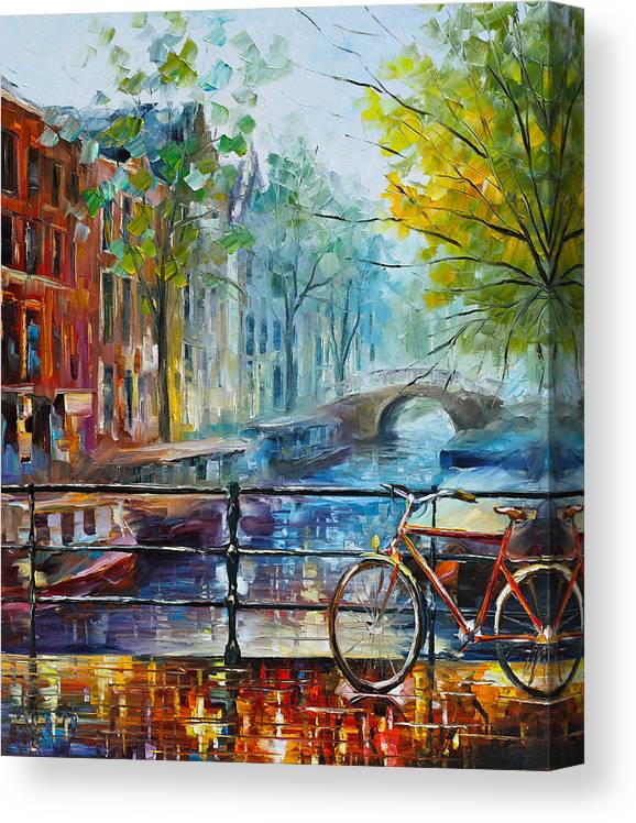 Amsterdam Canvas Print featuring the painting Bicycle in Amsterdam by Leonid Afremov