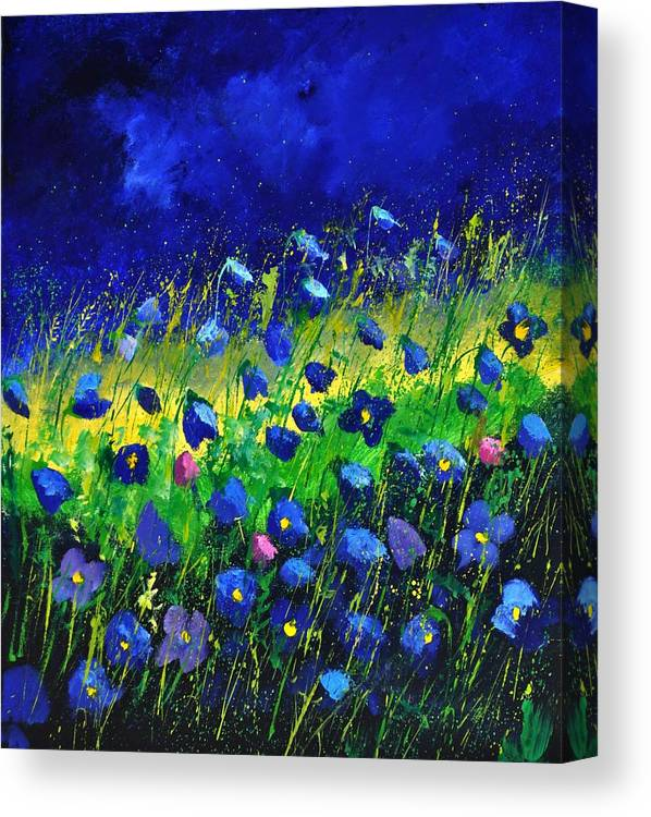 Landscape Canvas Print featuring the painting Blue poppies 674190 by Pol Ledent