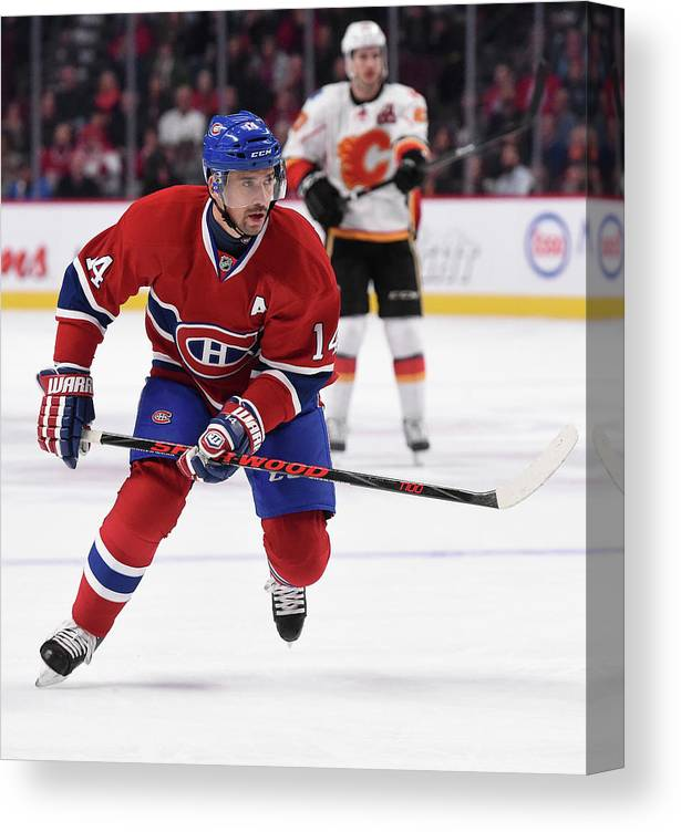 National Hockey League Canvas Print featuring the photograph Calgary Flames V Montreal Canadiens by Francois Lacasse