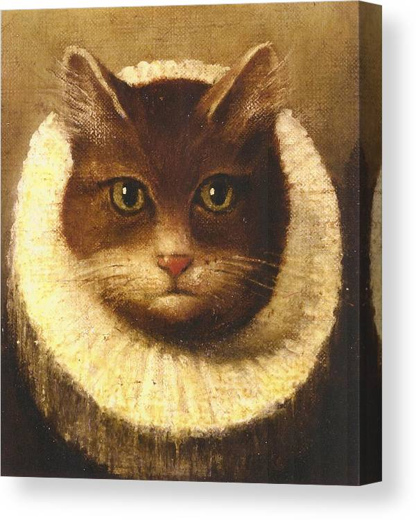 Vintage Art Canvas Print featuring the painting Cat In A Ruff by Vintage Art