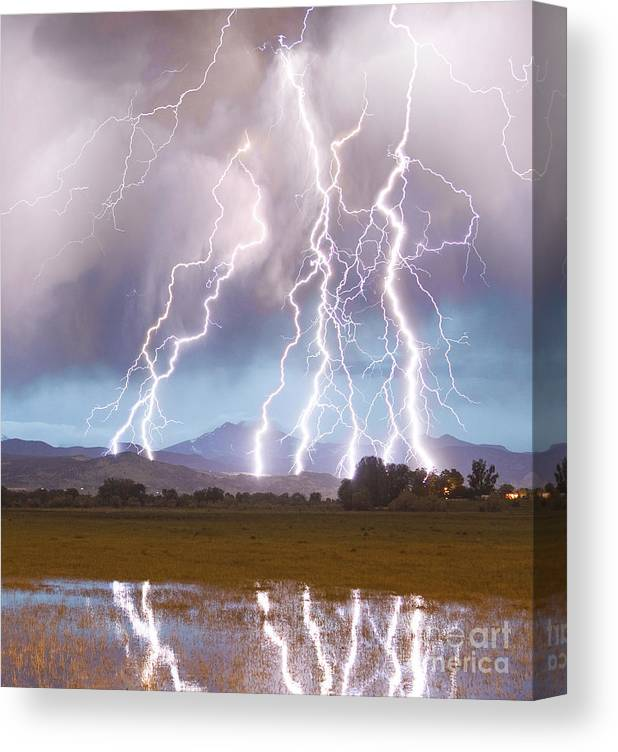 Lightning Canvas Print featuring the photograph Lightning Striking Longs Peak Foothills 4C by James BO Insogna
