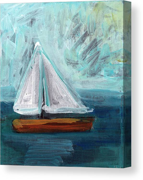 Boat Canvas Print featuring the painting Little Sailboat- Expressionist Painting by Linda Woods