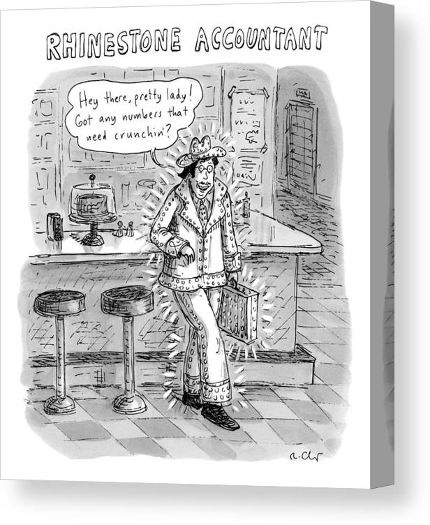 Cowboy Canvas Print featuring the drawing Man In A Rhinestone Suit Leans Against A Bar by Roz Chast