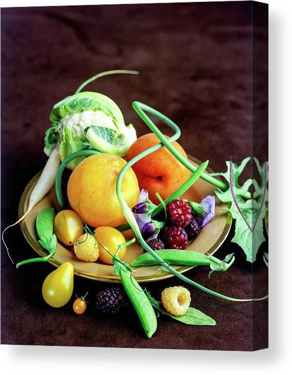 Fruits Canvas Print featuring the photograph Seasonal Fruit And Vegetables by Romulo Yanes