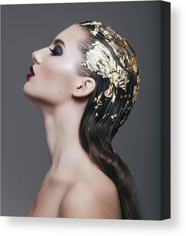 Cool Attitude Canvas Print featuring the photograph Woman With Foil Hairstyle by Lambada