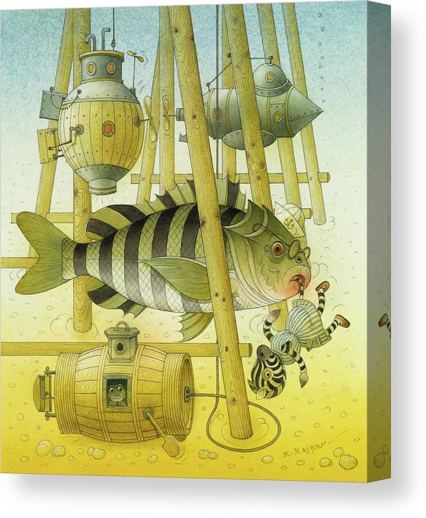 Striped Zebra Animals Fish Submarine Underwater Water Sea Sand Illustration Children Book Canvas Print featuring the painting A Striped Story07 by Kestutis Kasparavicius