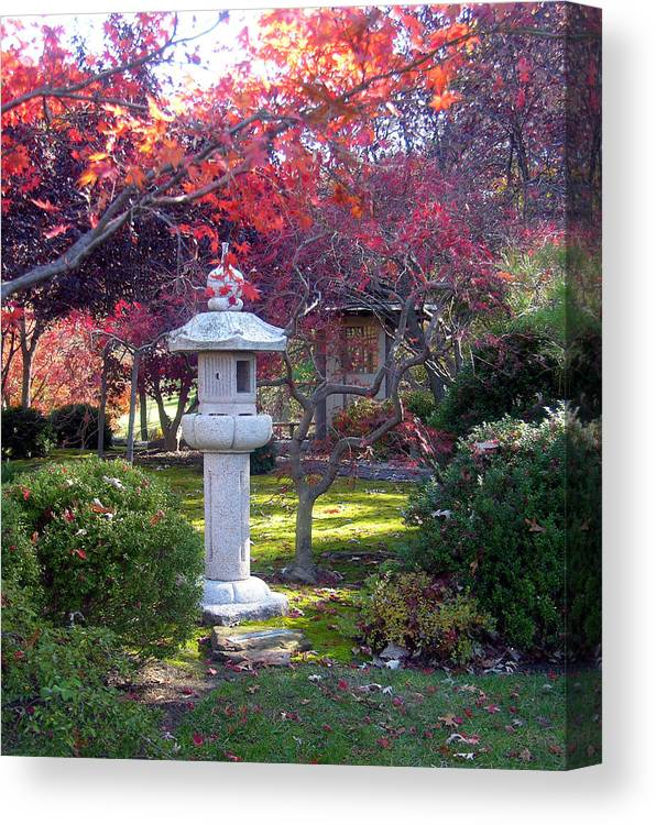 Japanese Garden Canvas Print featuring the photograph Autumn in the Japanese Garden by John Lautermilch