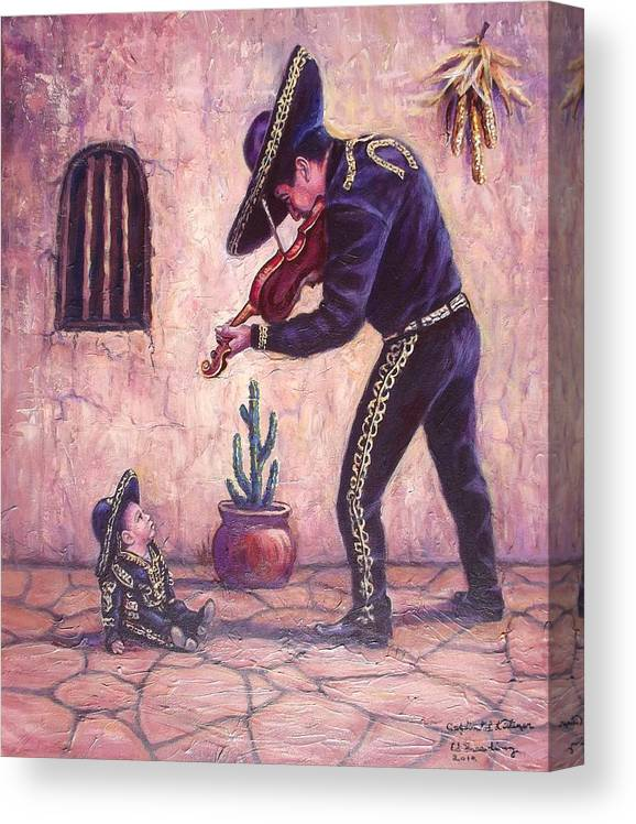 Mariachi Canvas Print featuring the painting Captivated Listener by Ed Breeding