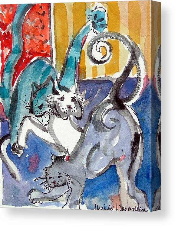 Cat Canvas Print featuring the painting Cat Fight by Mindy Newman