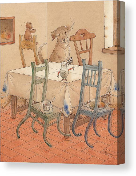Kitchen Chair Race Dog Canvas Print featuring the painting Chair Race by Kestutis Kasparavicius