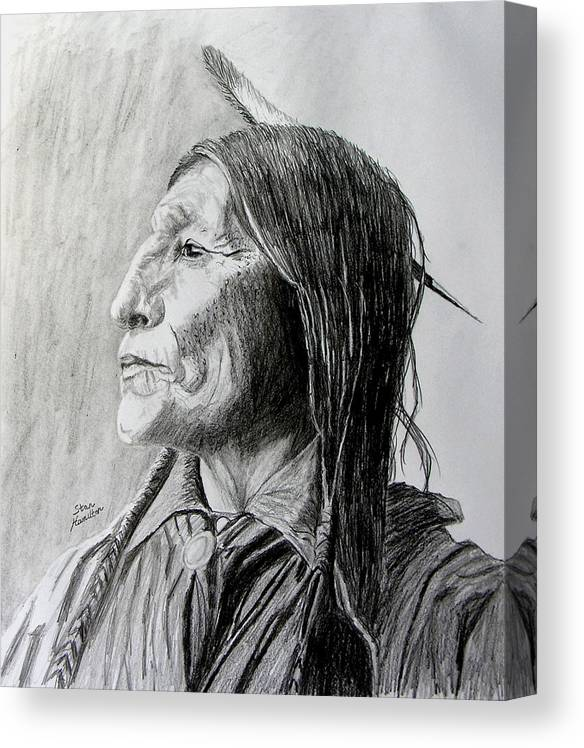 Original Drawing Canvas Print featuring the drawing Chief Wolf Robe by Stan Hamilton