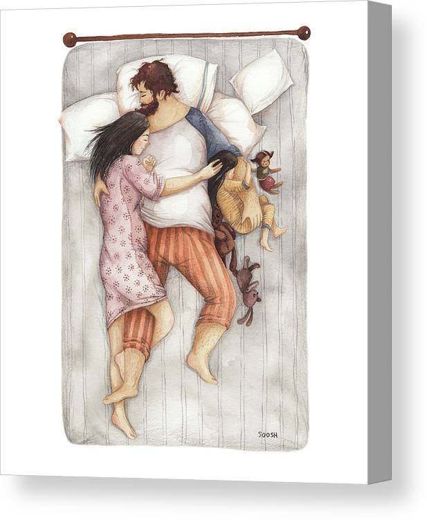 Soosh Canvas Print featuring the drawing Cuddles by Soosh