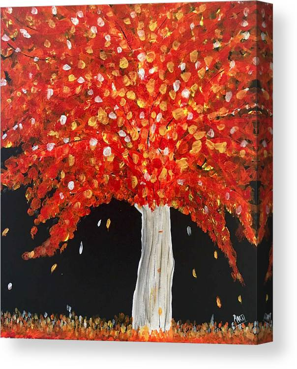 Fall Colors Canvas Print featuring the painting Flaming Fiery Fall by Aarti Bartake