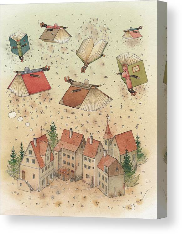 Books Town Flying Alphabet Canvas Print featuring the painting Flying Books by Kestutis Kasparavicius