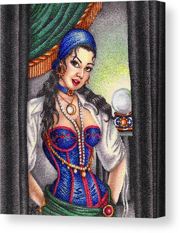 Woman Canvas Print featuring the drawing Fortune Teller by Scarlett Royal