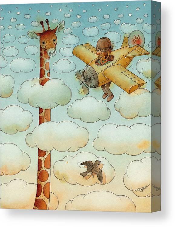 Airplane Sky Flying Giraffe Cloud Pilot Patriotizm Canvas Print featuring the painting Giraffe by Kestutis Kasparavicius