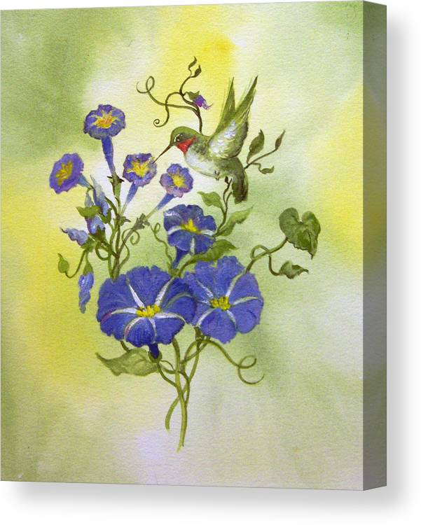 Hummingbird;bird;morning Glories;flowers;watercolor Painting; Canvas Print featuring the painting Hummingbird in the Morning by Lois Mountz