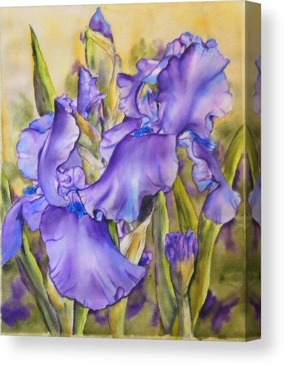 Canvas Print featuring the painting Iris in purple by Diane Ziemski
