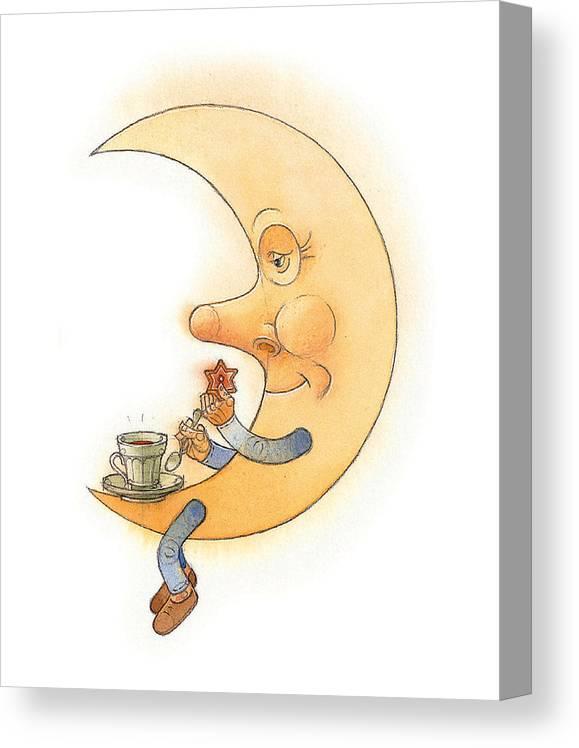 Moon Night Dark Evening Canvas Print featuring the painting Moon02 by Kestutis Kasparavicius