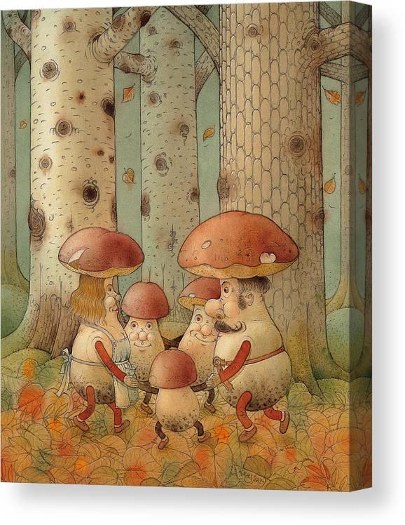 Mushrooms Landscape Forest Autumn Canvas Print featuring the painting Mushrooms by Kestutis Kasparavicius
